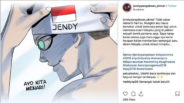 Kisah Jendi Pangabean Perenang Satu Kaki Andalan Indonesia Jadi Komik