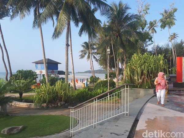 Di tepi pantai, sejumlah pohon kelapa menjulang tinggi menambah keindahan tersendiri. Laut ini membiru menghadap negera jiran. (Chaidir Anwar Tanjung/detikTravel)