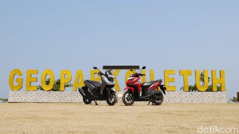 Yamaha Lexi dan Honda Vario di Geopark Ciletuh Foto: Rangga Rahadiansyah