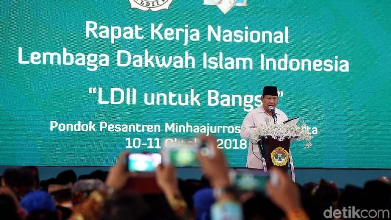 Prabowo Bicara Kondisi Ekonomi Indonesia di Rakernas LDII