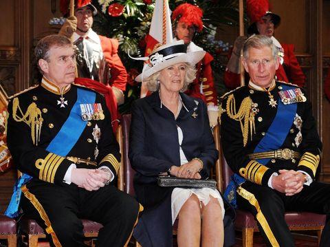 Pangeran Andrew, Camilla Parker Bowles, dan Pangeran Charles.