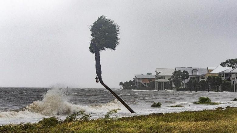 Topan Michael menghantam negara Bagian Florida, Amerika Serikat. Topan yang berkekuatan sangat besar itu telah meningkat ke badai kategori 4.