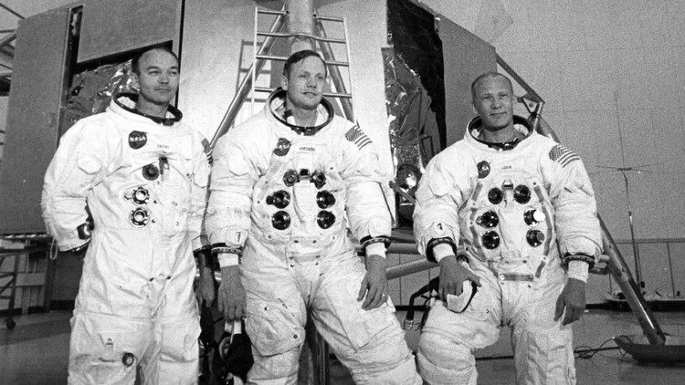 Apollo 11 astronauts Mike Collins (left), Neil Armstrong (centre), and Edwin Buzz Aldrin, in front of the Lunar Landing Module Simulator at the Kennedy Space Centre, USA, prior to their landing on the moon.    (Photo by Central Press/Getty Images)