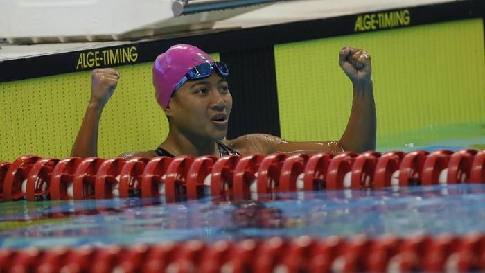Syuci Indriani pada final 100m Breaststroke SB14 putri Asian Paragames 2018 di Stadion Akuatik, Senayan, Jakarta, Senin (8/9/2018). (INAPGOC/ TJP Images / Herka Yanis Pangaribowo)