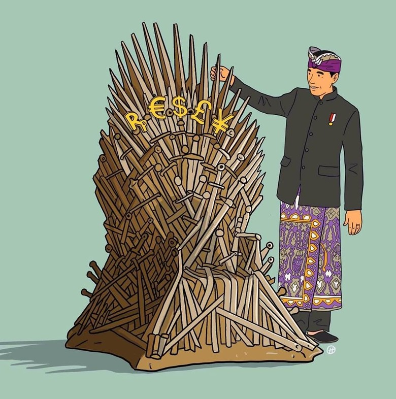 Jokowi Berdiri di Samping Iron Throne Game of Thrones