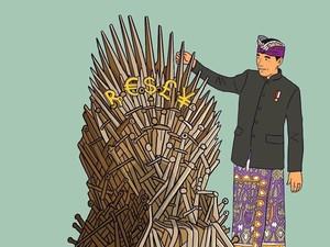 Jokowi Berdiri di Samping Iron Throne Game of Thrones