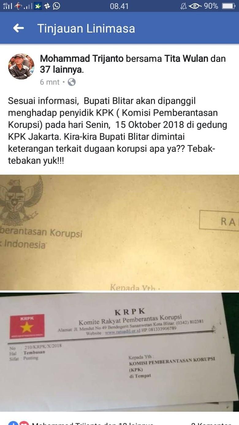 Viral Kabar Bupati Blitar Dipanggil KPK, Benarkah?
