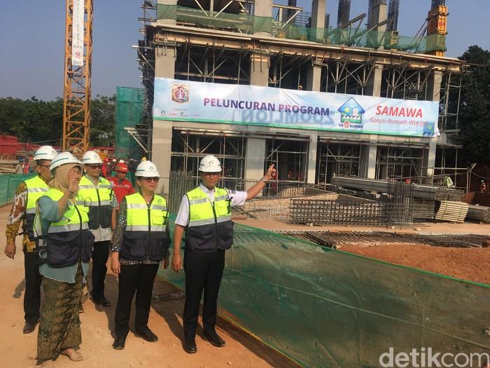 Gubernur Anies Baswedan di acara peluncuran rumah DP Rp 0 Klapa Village. (Indra Komara/detikcom)