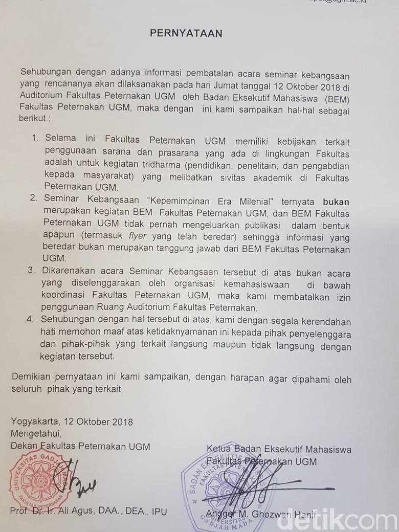 Ini Dalih UGM Cabut Izin Seminar Sudirman Said dan Ferry Mursyidan