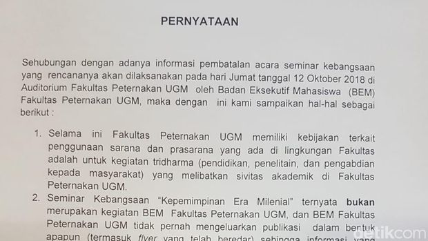Surat pernyataan UGM.
