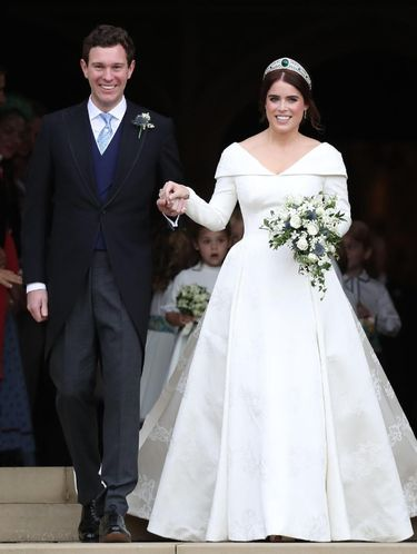 WINDSOR, ENGLAND - OCTOBER 12:  The bride Princess Eugenie of York with her father Prince Andrew, Duke of York arrives by car for her Royal wedding to Mr. Jack Brooksbank at St. George's Chapel on October 12, 2018 in Windsor, England.  (Photo by Chris Jackson/Getty Images)