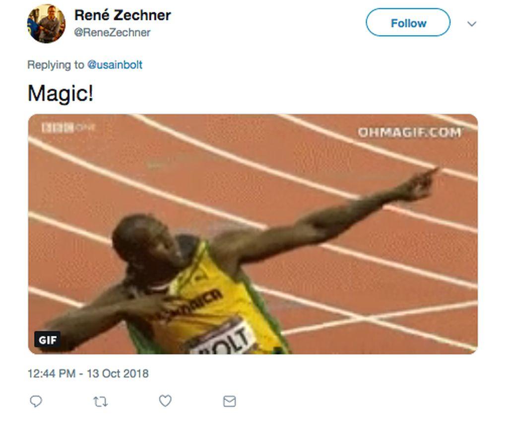 Usain Bolt mencetak dua gol ke gawang Macarthur South West United dengan statusnya sebagai pemain trial dari Central Coast Mariner. Netizen ini menyebut aksinya magis, seperti torehan prestasinya di dunia atletik. (Foto: Internet/Twitter)