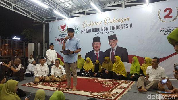 Ikatan Guru Ngaji DKI deklarasi mendukung Prabowo-Sandiaga, Sabtu (13/10/2018)
