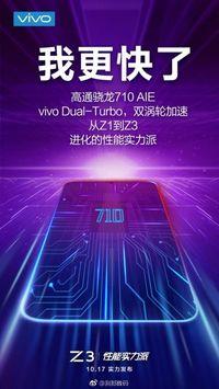 Poster yang dirilis Vivo soal peluncuran ponsel barunya yang bernama Z3 dengan otak Snapdragon 710.
