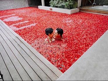 Momen berenang dipenuhi bunga warna merah. Meleleh banget deh jadinya. (Foto: Hastriadi Ragil melalui Instagram @ardinarasti6)