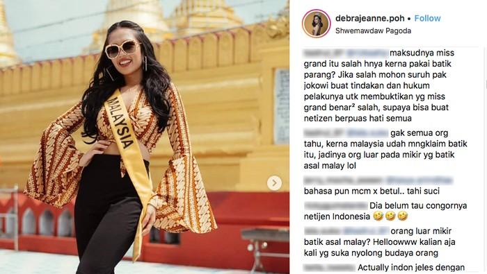Miss Grand Malaysia pakai batik parang. Foto: Dok. Instagram/debrajeanne.poh
