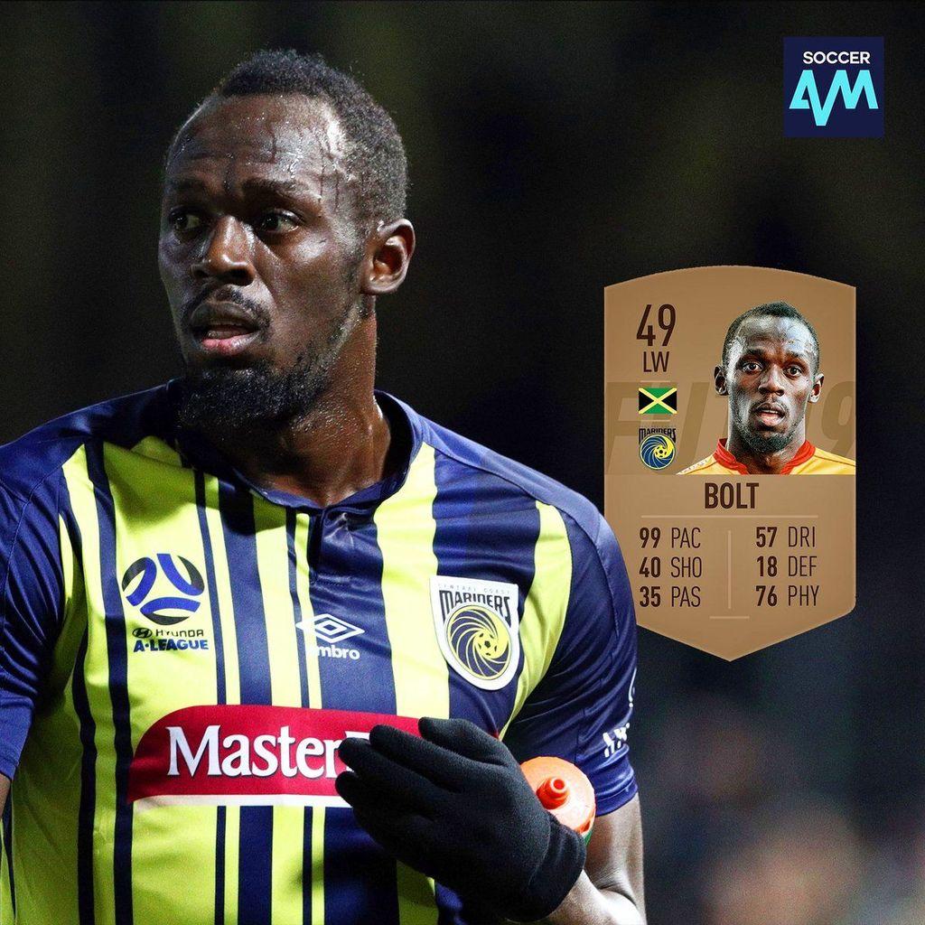 Wah, kecil sekali prediksi yang satu ini. Bolt cuma diberi nilai 49. Foto:Twitter/SoccerAM