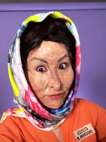 Tampilan makeup Hallowen Xiaxue yang meniru wajah Rosmah Mansor