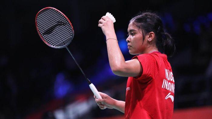Gregoria Mariska Tunjung mengalahkan Chen Xiaoxin di babak pertama Denmark Terbuka 2018 (Foto: dok. Humas PBSI)