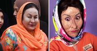 Kiri: Rosmah Mansor, Kanan: Xiaxue yang berdandan seperti Rosmah Mansor
