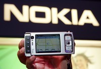 LAS VEGAS - JANUARY 09:  The newly-launched Nokia N95 camera phone is displayed at the Las Vegas Convention Center during the 2007 International Consumer Electronics Show January 9, 2007 in Las Vegas, Nevada. The device features integrated GPS, a five-megapixel camera, 30 frames per second video capture, an MP3 player, and internet radio and e-mail capabilities. The worlds largest consumer technology trade show runs through January 11 and features 2,700 exhibitors showing off their latest products and services to more than 150,000 attendees.  (Photo by Ethan Miller/Getty Images)