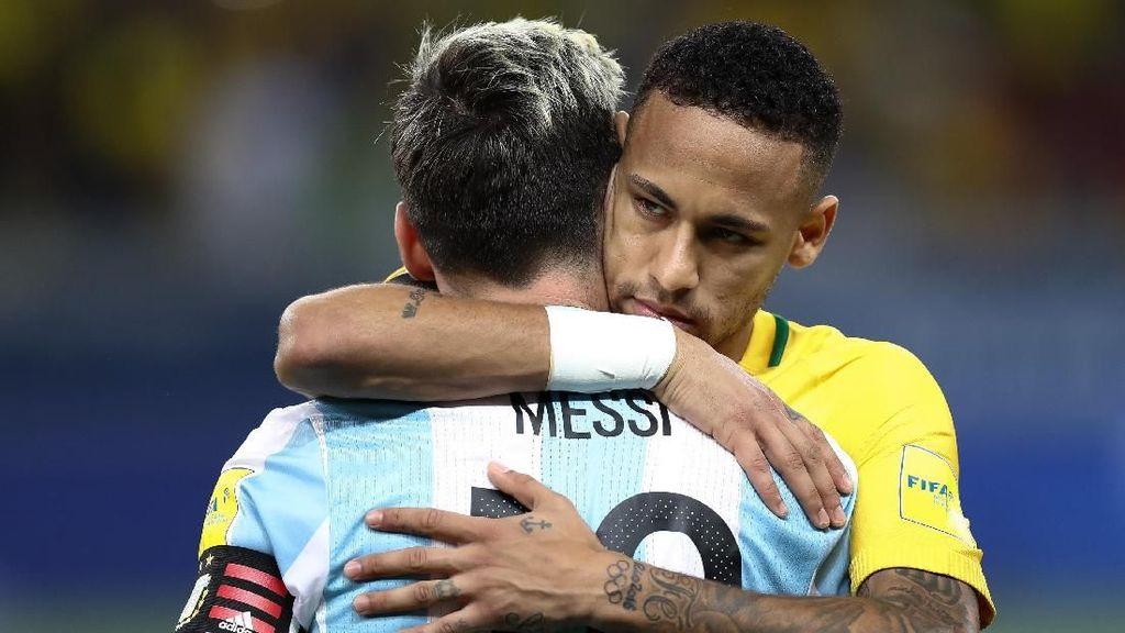 Pelukan Hangat Neymar untuk Messi Usai Brasil Singkirkan Argentina