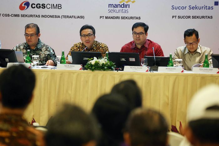 Bank CIMB Niaga menggelar paparan publik di Jakarta, Senin (15/10/2018).