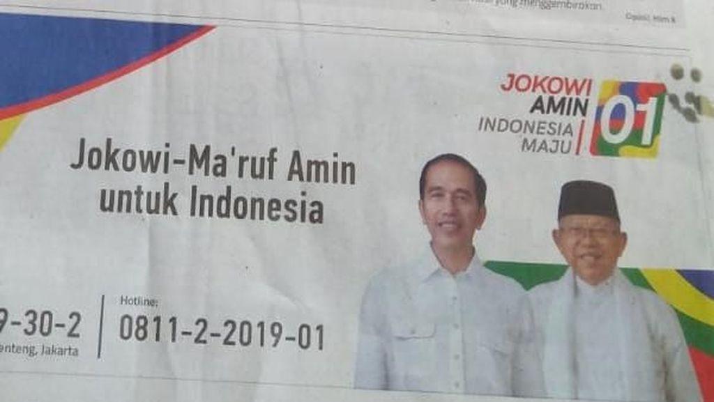 Pro Kontra soal Iklan Rekening Jokowi-Maruf Amin