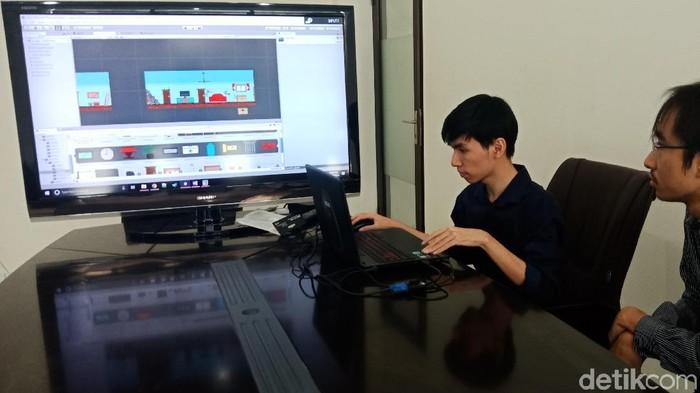 Mahasiswa Surabaya ini bikin game edukasi penanggulangan bencana (Foto: Intan Puspita Sari/detikINET)