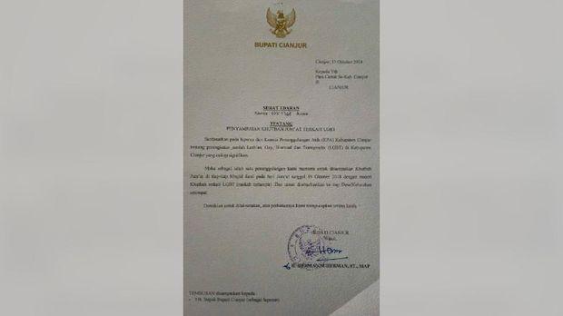 Surat Edaran Pemkab Cianjur soal instruksi khotbah jumat anti-LGBT.