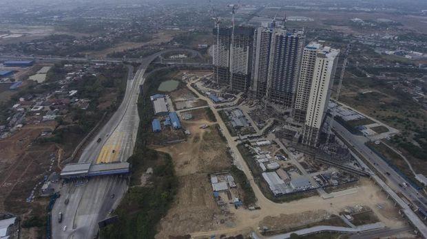 Foto aerial gedung-gedung apartemen di kawasan Meikarta, Cikarang, Kabupaten Bekasi, Jawa Barat, Selasa (16/10).