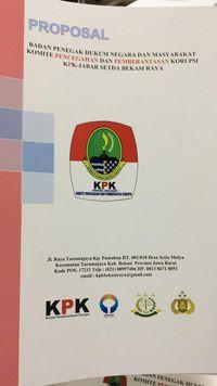 Dokumen sebuah lembaga yang memiliki kemiripan nama dan logo dengan Komisi Pemberantas Korupsi (KPK)