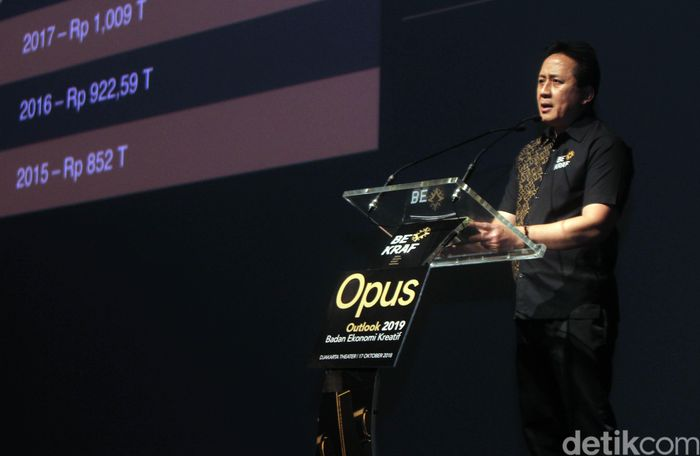 Kepala Badan Ekonomi Kreatif Triawan Munaf memberikan sambutan dalam peluncuran buku Opus 2019 di Jakarta, Rabu (17/10). Pool/Bekraf.