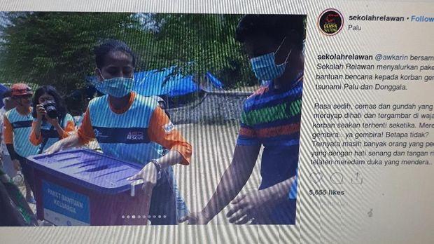 Pamit dari Instagram, Awkarin Bantu Korban Gempa Palu