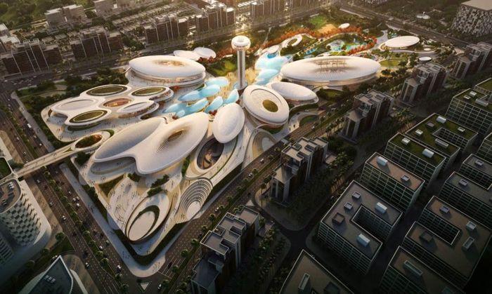 Pusat rekreasi ini didesain oleh arsitektur bernama Zaha Hadid dengan ciri khas pola bangunan berputar-putar. (Istimewa/Inhabitat).