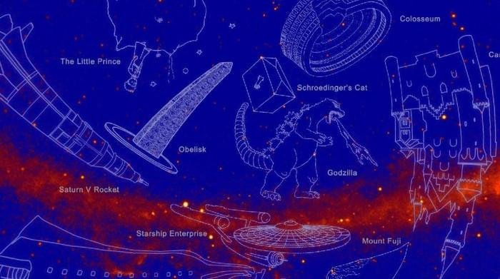 Konstelasi sinar gamma yang baru diumumkan oleh NASA, ada Godzilla di situ. Foto: NASA