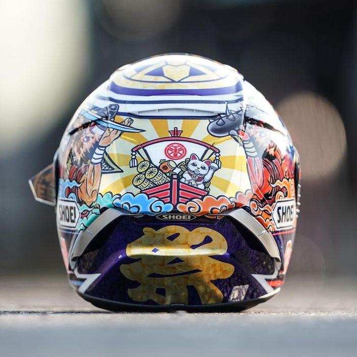 Beginilah grafis pada helm terbaru Marc Marquez yang akan dia pakai pada MotoGP Jepang. (Instagram @marcmarquez93)