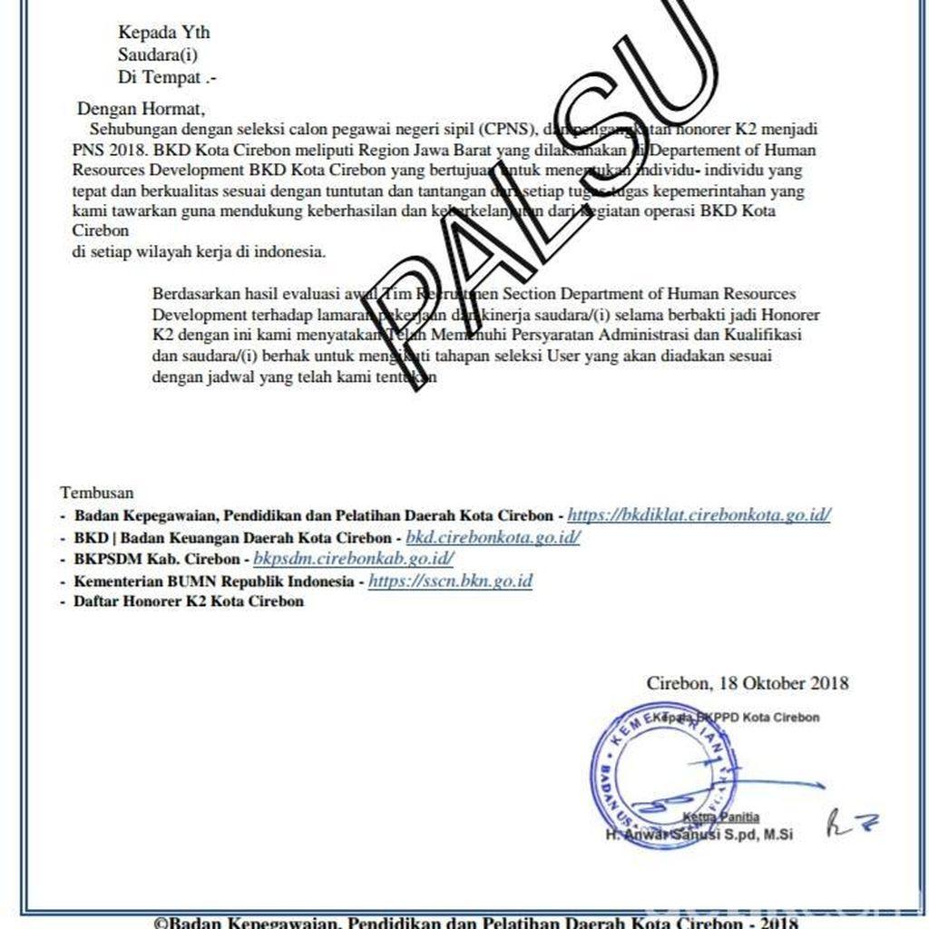 Awas! Beredar Surat Penerimaan Seleksi CPNS Palsu di Pemkot Cirebon