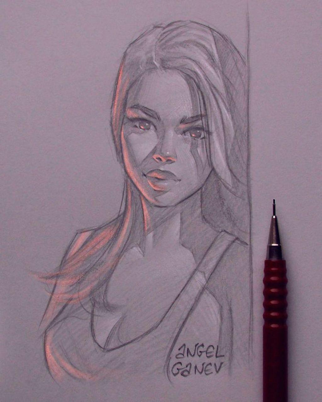 Keren Lukisan Sketsa Pensil Tampak Bercahaya Foto 12