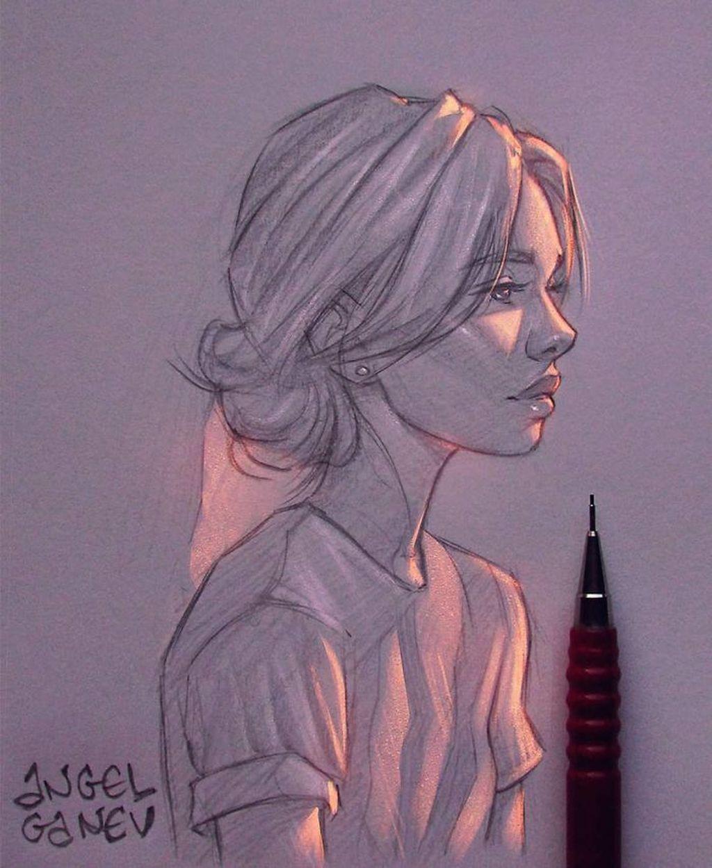 Keren Lukisan Sketsa Pensil Tampak Bercahaya Foto 10