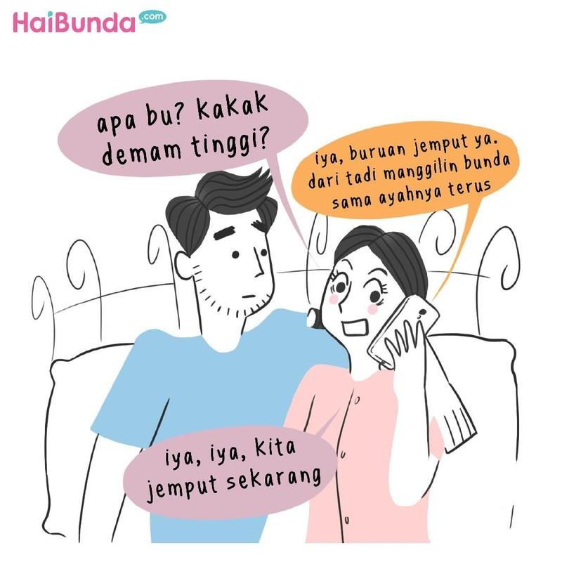Begini cerita Bunda dan Ayah di komik ini saat ingin mencari waktu untuk ehem. Nah, Bunda dan suami punya cerita apa terkait waktu ehem. Share dong, Bun.