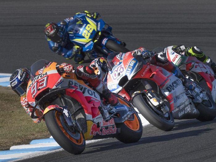 Andrea Dovizioso jatuh di putaran-putaran terakhir MotoGP Jepang. (Foto: Mirco Lazzari gp/Getty Images)