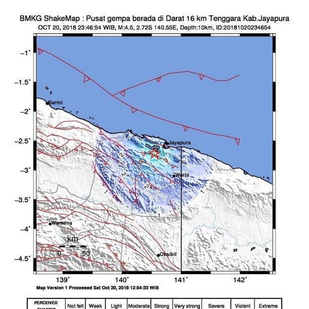 Gempa M 4,5 Terjadi di Jayapura