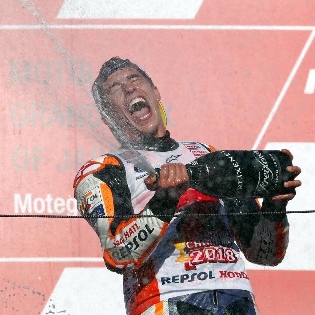 Video Marquez Dislokasi Bahu saat Rayakan Gelar Juara