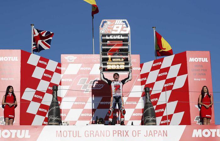 Marquez berhasil memastikan gelar juara dunia MotoGP 2018. Reuters/Toru Hanai.