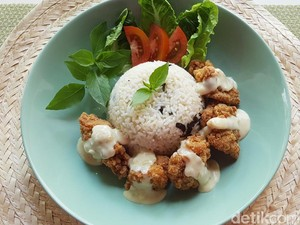 Resep Ayam : Fiesta Karage with Garlic Rice and Cheese Sauce