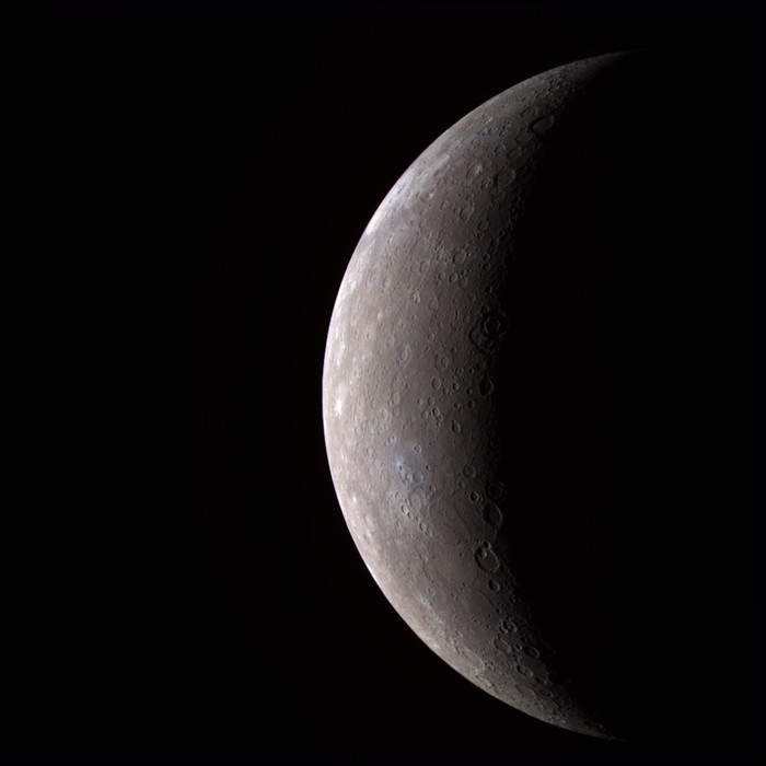 IN SPACE:  In this handout from NASA, Mercury is seen from the Messenger spacecraft January 14, 2008. Messenger was about 17, 000 miles from the closest planet from the Sun on its first of three passes by Mercury before settling into orbit in 2011.  (Photo by NASA/Johns Hopkins University Applied Physics Laboratory/Carnegie Institution of Washington via Getty Images)
