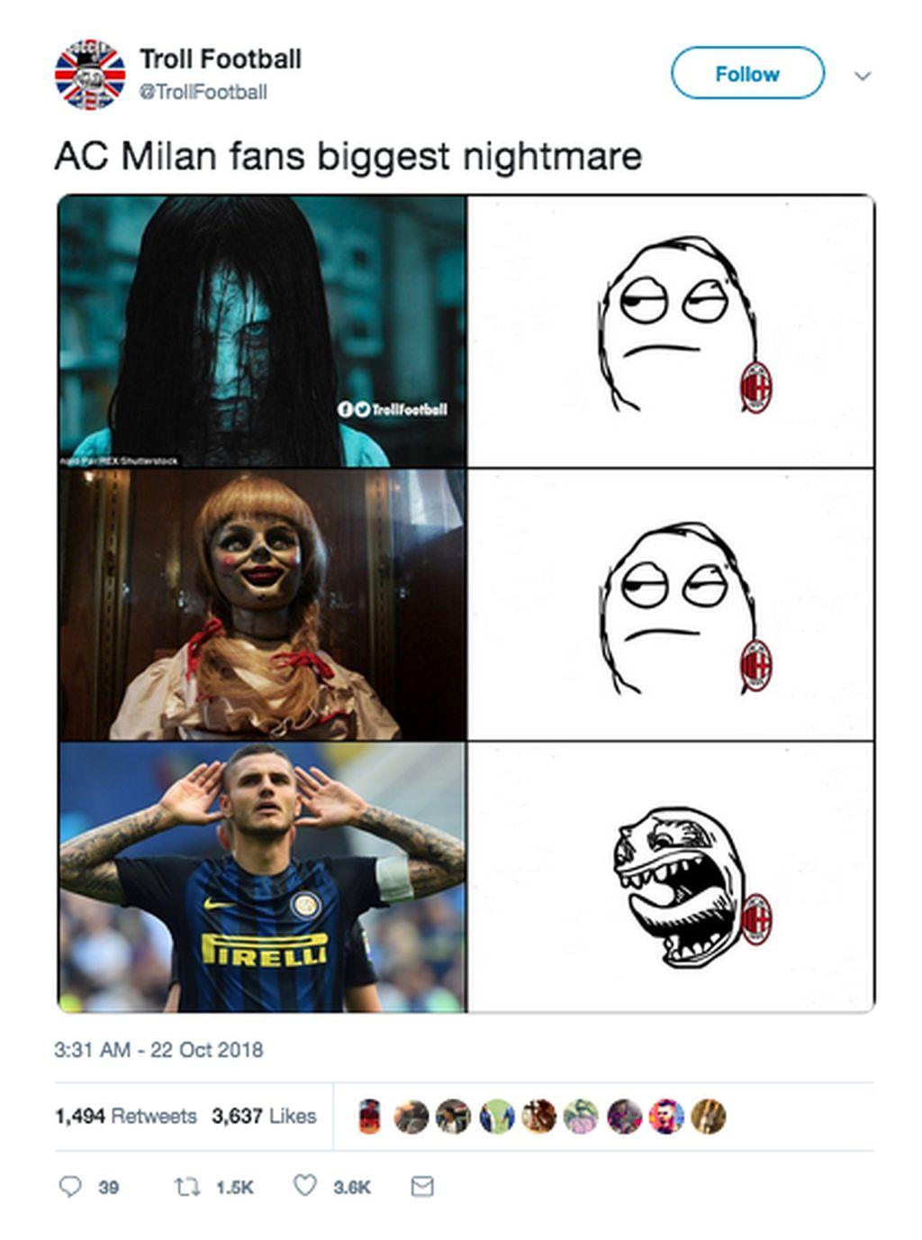 Inter Milan mengalahkan AC Milan berkat gol Mauro Icardi di menit-menit akhir. Icardi jadi momok untuk Rossoneri usai menjebol gawang Donnarumma. (Foto: Internet/Twitter)