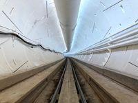 Potret terowongan di Hawthorne, Los Angeles, Amerika Serikat, untuk moda transportasi modern besutan Elon Musk bernama Loop.