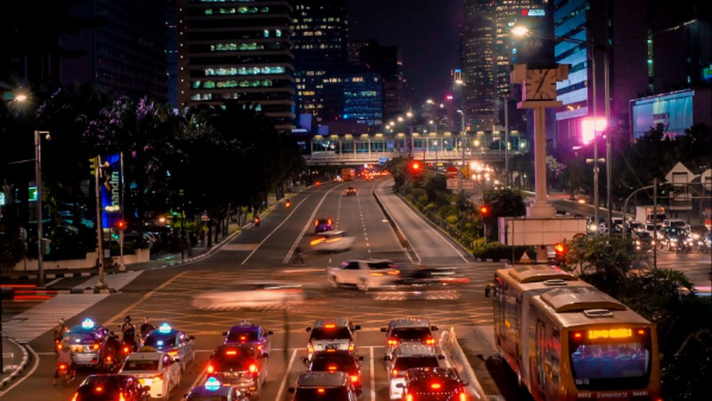 Rush hour in nightscape
